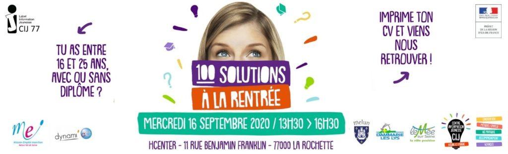 Evénement 100 solutions à la rentrée - 16 septembre 2020 - La Rochette